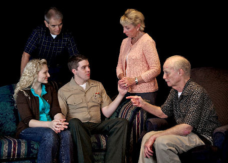 Courtney Stephens, Kevin Fewell, Matt Griggs, Kathy Kane, David Crenshaw in 'Duty' at The Theatre Gym, Kansas City, Missouri